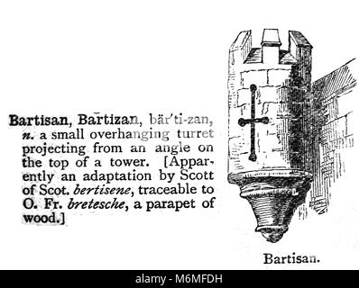 BARTISAN / BARTIZAN / BRATTICING - An entry from from Chamber's 20th century Dictionary - UK - circa 1920 - Stock Photo