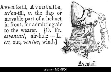 AVENTAIL / AVENTAILE / CAMAIL  On a helmet - An entry from from Chamber's 20th century Dictionary - UK - circa 1920 - Stock Photo