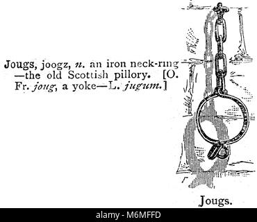 JOUGS / JOUG -  Iron neck-ring from a Scottish pillory - An entry from from Chamber's 20th century Dictionary - - Stock Photo