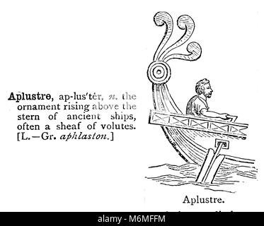 APLUSTRE - An entry from from Chamber's 20th century Dictionary - UK - circa 1920 - Stock Photo