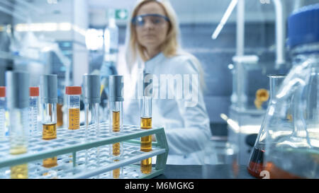 Shot of a Cart with Test-Tubes, Analysis, Beakers and Various Glassware. - Stock Photo