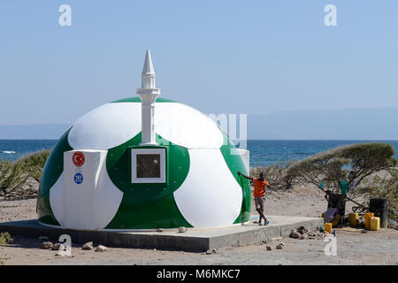 DJIBOUTI , Tadjoura, Turkey financed mosque in football design, NEVKA composite house, yeter and halil mosque  / - Stock Photo