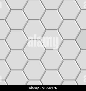 3d hexagon pattern block of gray stone tile for floor construction model - Stock Photo