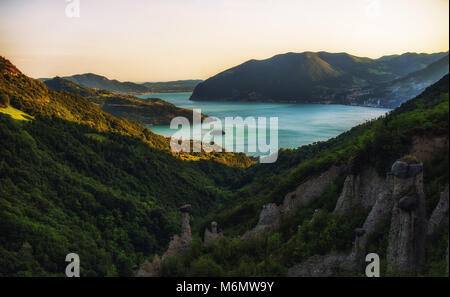 Panoramic view on lake Iseo in Italy - Stock Photo