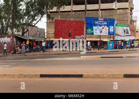 Bissau, Republic of Guinea-Bissau - January 28, 2018: Street scene in the city of Bissau with people at the Bandim - Stock Photo