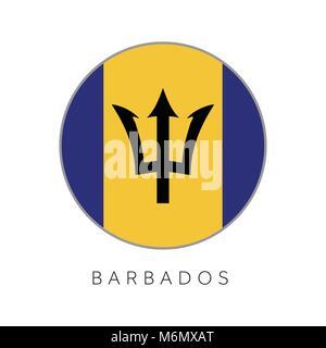 Barbados flag round circle vector icon - Stock Photo