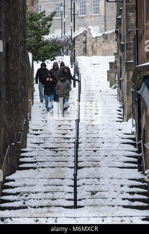 the historic Vennel steps at Grassmarket under snow in Edinburgh Old Town, Scotland, United Kingdom - Stock Photo