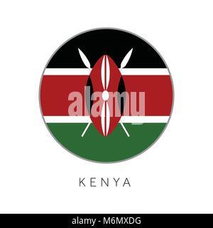 Kenya flag round circle vector icon - Stock Photo