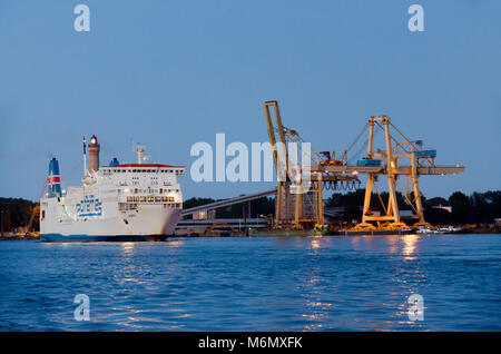 Ferryboat on Swina river in town of Swinoujscie, Uznam island, Westpomeranian voivodeship, Poland Europe. - Stock Photo