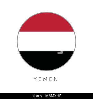 Yemen flag round circle vector icon - Stock Photo