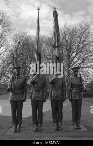 Honor Guard sculpture by Zenos Frudakis at the Imperial War Museum, Duxford, Cambridge. Representing the Colors - Stock Photo