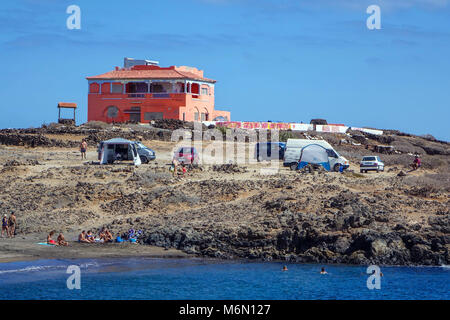 Camper wagon, campers on beach at Abades, Tenerife, Canary Islands, Spain - Stock Photo