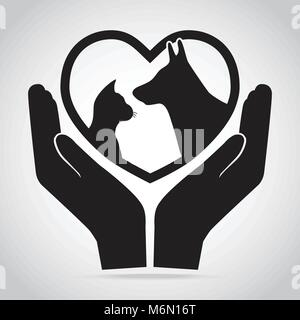 Dog and Cat with heart in hands icon. Protection, care and help concept - Stock Photo