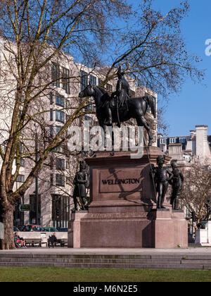 Equestrian Statue of 1st Duke of Wellington with his horse Copenhagen, Hyde Park Corner, London - Stock Photo