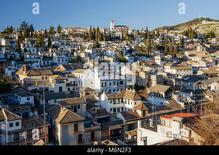 General view of the Unesco listed  Albaicin old town as seen from La Chura viewpoint. Granada, Andalusia, Spain - Stock Photo