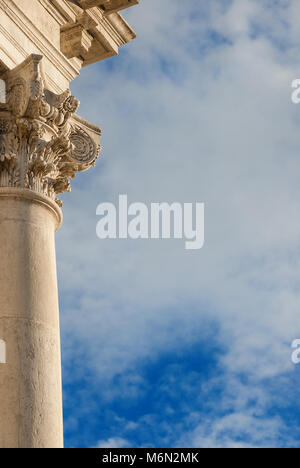 Classical architecture. Old stone column with Corinthian capital from the former Church of Saint Giustina in Venice. - Stock Photo
