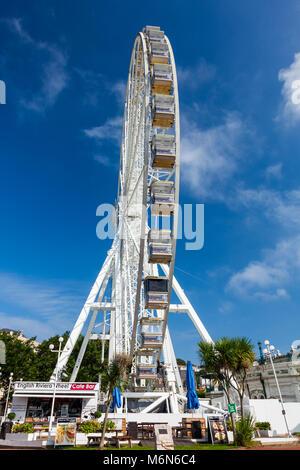 TORQUAY, UNITED KINGDOM - 20th of September 2016 -  English Riviera Wheel a 60 foot ferris wheelin Torquay Devon - Stock Photo