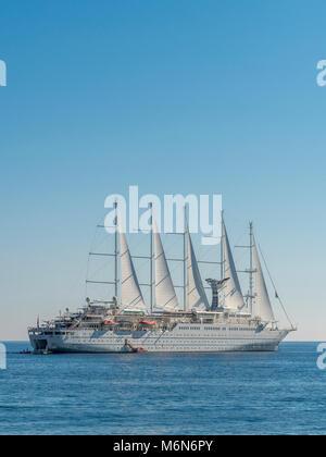 Wind Surf cruise ship moored in Amalfi Bay, Italy. - Stock Photo