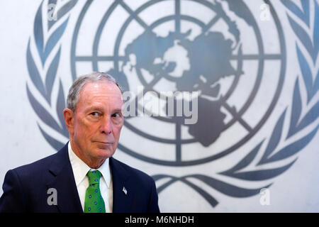 United Nations. 5th Mar, 2018. Former New York City Mayor Michael Bloomberg is seen at the UN headquarters in New - Stock Photo
