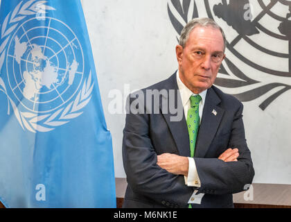 New York, USA, 5 Mar 2018. Former New York City Mayor Michael Bloomberg was re-appointed as UN Special Envoy for - Stock Photo