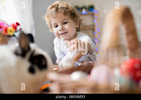 Cute Little Boy Playing with Bunnies - Stock Photo