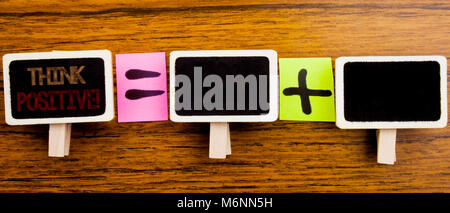 Handwriting Announcement text showing Think Positive. Business concept for Positivity Attitude Written on clips, - Stock Photo