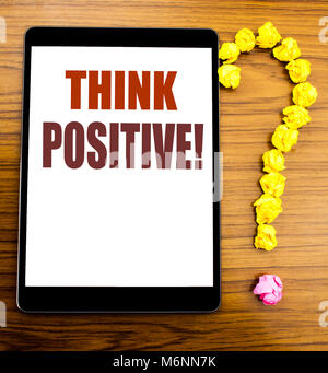 Handwriting Announcement text showing Think Positive. Business concept for Positivity Attitude Written on tablet - Stock Photo