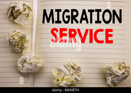 Handwritten text showing Migration Service. Business concept writing for Online Network Idea Written on notepad - Stock Photo
