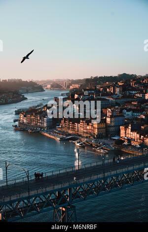 View over Porto with Ponte Dom Luis I Bridge across River Douro in Porto, Portugal - Stock Photo