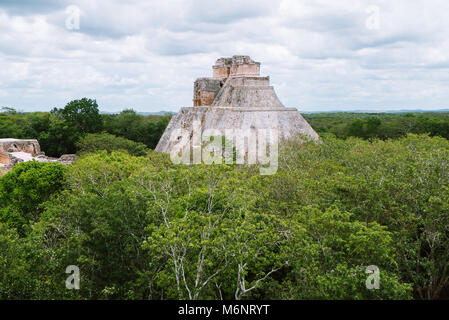 The pyramid of Magician (El Adivino) located in Yucatan, Mexico. This pyramid is the tallest and most recognizable - Stock Photo