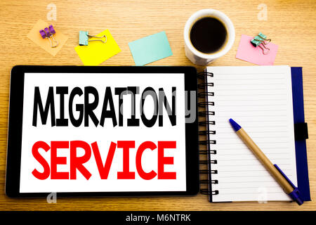 Word, writing Migration Service. Business concept for Online Network Idea Written on tablet, wooden background with - Stock Photo