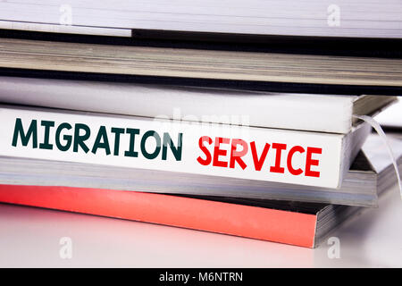 Word, writing Migration Service. Business concept for Online Network Idea written on the book the white background. - Stock Photo