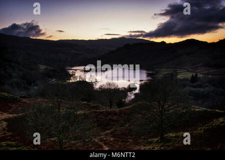 Sunrise view from White Moss over Rydal Water, Lake District, England, UK - Stock Photo