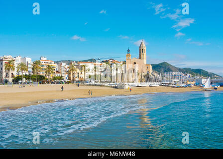 Platja de la Fragata, Sitges, Catalonia, Spain - Stock Photo