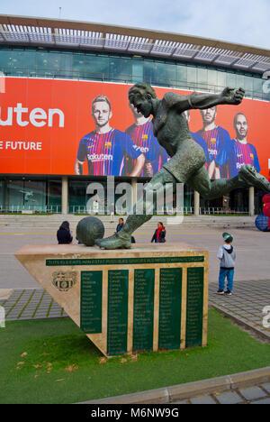 Laszlo Kubala memorial, in front of the football Stadium, Camp Nou, Barcelona, Catalonia, Spain - Stock Photo