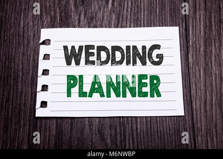 Word, writing Wedding Planner. Business concept for Marriage Preparation written on sticky note paper on dark wooden - Stock Photo