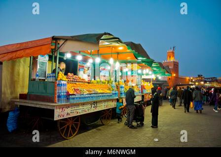 Fresh fruit juice sellers, Jamaa el Fna, Marrakesh, Morocco, northern Africa - Stock Photo