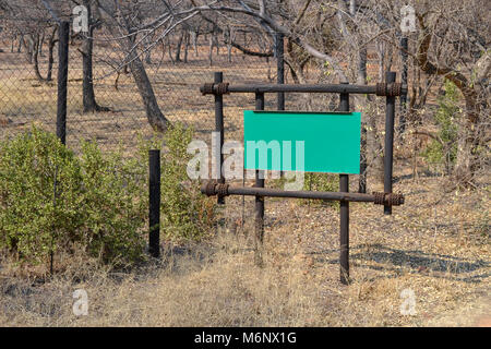 A sign saying cheetah territory no entry near Pretoria South Africa - Stock Photo