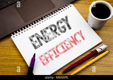 Writing text showing Energy Efficiency. Business concept for Electricity Ecology written on notebook book on wooden - Stock Photo