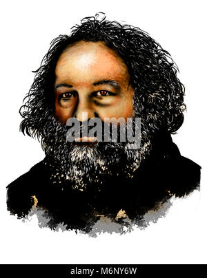 Drawing of Mikhail Bakunin. (1814 –1876) He was a Russian revolutionary anarchist and founder of collectivist anarchism. - Stock Photo