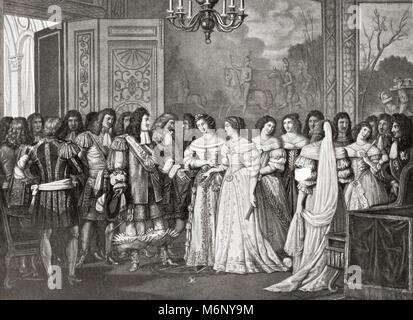 Louise de La Vallière presented to Louis XIV at St. Germain, France.  Louise de La Vallière, 1644 – 1710.  Mistress - Stock Photo