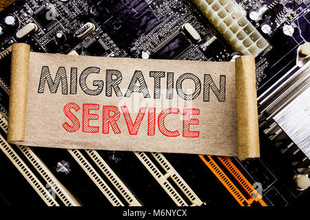 Writing text showing Migration Service. Business concept for Online Network Idea Written on sticky, computer main - Stock Photo