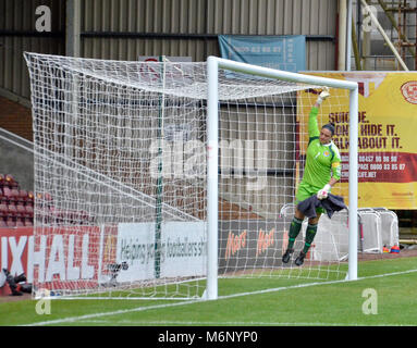 MOTHERWELL, SCOTLAND - JUNE 14th 2014: Scotland's Gemma Fay checking her goals before the 2015 World Cup qualifying - Stock Photo