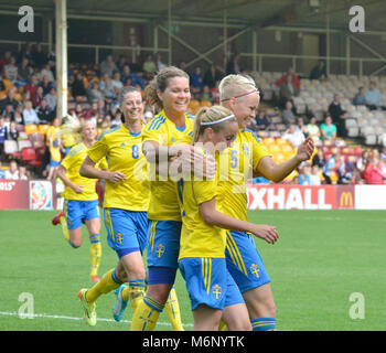 MOTHERWELL, SCOTLAND - JUNE 14th 2014: Sweden celebrates a goal against Scotland in a qualifying match for the 2015 - Stock Photo