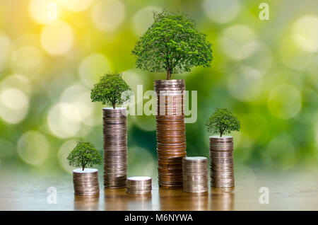 hand Coin tree The tree grows on the pile. Saving money for the future. Investment Ideas and Business Growth. Green - Stock Photo
