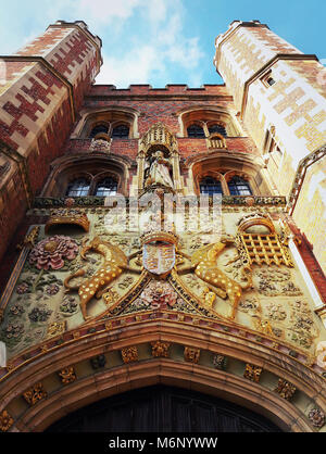 The decorated facade of the gatehouse at St Johns College in Cambridge, UK. - Stock Photo
