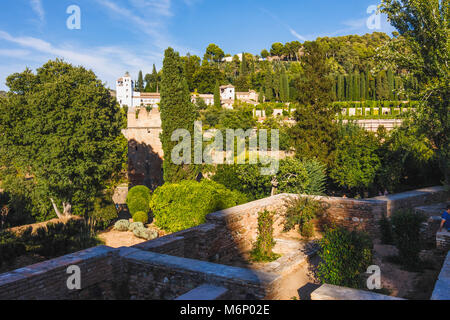 Granada, Andalusia, Spain : Generalife palace as seen from the Alhambra gardens. - Stock Photo