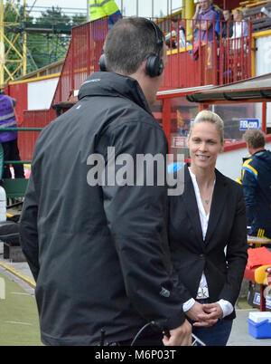 MOTHERWELL, SCOTLAND - JUNE 14th 2014: Shelley Kerr getting interviewed by BBC Alba ahead of the Scotland and Sweden - Stock Photo