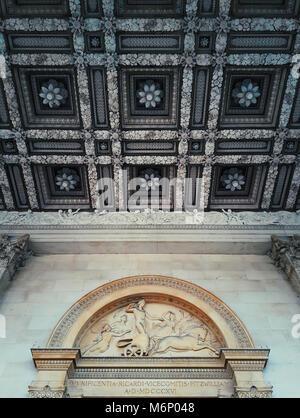 Beautiful ceiling above the entrance of the Fitzwilliam Museum, Cambridge, United Kingdom. - Stock Photo