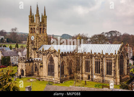 St John the Baptist church in Tideswell known the Cathedral of the Peak - Derbyshire UK - Stock Photo